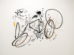 With his photographic series Things Come Apart & Disassembly Series, Todd McLellan offers us fully decomposition of sophisticated objects which permits to Potpourri, Raleigh Bicycle, Bike Poster, Coming Apart, Bicycle Art, Bicycle Design, Cycling Art, Cycling Jerseys, Cycling Quotes