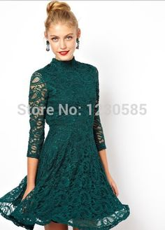 Find More Dresses Information about Free Shipping 2015 Fashion Ivory/Dark Green High Neck 3/4 Long Sleeves Lace Dresses Women Sexy Back Open Women Dress 12601,High Quality dress white dress,China dress for less prom dresses Suppliers, Cheap dress cocktail from Queen's Luck on Aliexpress.com