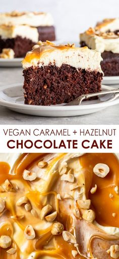 Vegan Hazelnut Chocolate Cake with Caramel-Swirled Frosting - The sponge of this easy cake is moist and delicate, the frosting is fluffy and swirled through with a luscious caramel sauce, and a sprinkling of chopped hazelnuts adds a wonderful crunch (and an extra burst of flavour). Plus, it's incredibly easy to make – and no egg replacements needed! Vegan cake recipe. Dairy free cake. Easy vegan recipes. Vegan dessert. Vegan chocolate cake. Vegan frosting. #vegan #cake #vegancake Best Vegan Desserts, Vegan Dessert Recipes, Vegan Treats, Vegan Sponge Cake Recipe, Vegan Cake, Dairy Free Cheesecake, Raw Cheesecake, Drip Cake Recipes, Easy Cake Recipes