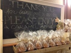 Caramel Apple Favor Table Saying-Fall Folly Wedding by Designed Sealed and Delivered