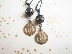 Black and Gold Miraculous Mary Earrings / Vintage Religious Medal Assemblage Jewelry / OOAK