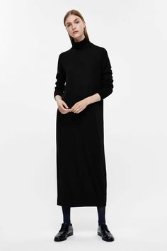 COS image 1 of Long roll-neck dress in Black