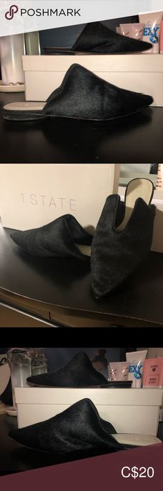 1.State Black Cow Hair Flat Slip on - GENIA Well loved black cow hair slip ins. Great for styling up any outfit, these bad boys have been worn primarily around the office and grocery store. Happy shopping! 1. State Shoes Flats & Loafers