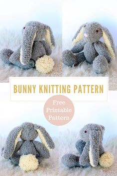 Easter Bunny Pattern : Easter Bunny Knitting Pattern – Make a floppy eared Easter bunny to share with your little ones this Easter! Knit with fluffy textured yarn the bunny is super soft and cuddly. Get the free knitting pattern and print it out today. Animal Knitting Patterns, Stuffed Animal Patterns, Knitted Toys Patterns, Knit Baby Patterns, Cowl Patterns, Textured Yarn, Knitted Animals, Knitted Bunnies, Knitted Stuffed Animals