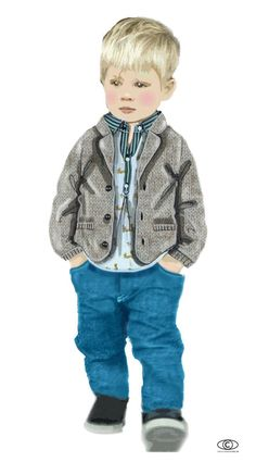 CarlinGroup: Tendance Apparat - Kids FW 2017-18 - Fantasy nature: oat of arms spirit, animated by moving animals. One deconsecrates the formal codes by a more supple shapes: pants in velvet, 5-pockets & redesigned knit blazer jacket worn over an « animal tie-pattern » printed shirt.