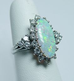 LG Vintage Fiery Opal 1 40ct Diamond Filigree Ring 14k White Gold Estate Jewelry | eBay