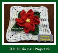 Poinsetta-Washcloth-by-American-CrochetELK Studio CAL Project #3