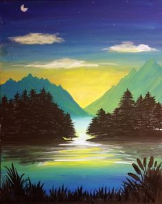 Paint Nite Events near Spruce Grove, AB Mini Canvas Art, Beautiful Sunrise, Paint Party, Landscape Paintings, Art Work, Dawn, Coloring Pages, Doodles, Sunset
