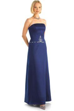 Elegant A-line Strapless Beading Floor-length Satin Bridesmaid Dresses