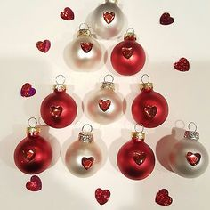 10 Jeweled Mini White Red Glass Heart Ornaments Valentine Decor Feather Tree NEW