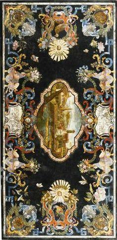 An Italian scagliola table top attributed to Pietro Antonio Paolini, Tuscan, circa 1735.