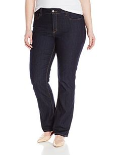NYDJ Women's Plus-Size Marilyn Straight Jeans, Dark Enzyme, 16W