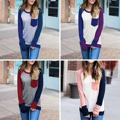 Patchwork Pocket Long Sleeve Basic Top ~ 4 Designs to Choose From!!