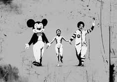 80 oeuvres de l'artiste Banksy qui vous feront voir le monde d'une autre façon Banksy: Little girl bombed with napalm during the Vietnam War holding hands with Mickey Mouse and Ronald Mcdonald Banksy Graffiti, Street Art Banksy, Banksy Work, Graffiti Artwork, Bansky, Protest Kunst, Protest Art, Land Art, Banksy Canvas Prints
