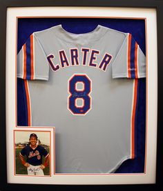 Signed baseball jersey paired with a signed photo of Gary Carter of the New York Yankees. Designed and framed at Art & Frame Express in Edison NJ.