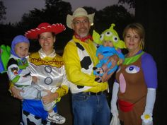 Toy Story Family Halloween Costume Idea. Dustin said he would be woody, I would be buzz, and Colton would be a little alien! Lol