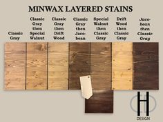 Minwax stain color study, Classic Grey, Special Walnut, Driftwood ...