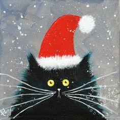 Funny cat christmas card santa kitten kim haskins art cat lovers xmas card new Cat Christmas Cards, Christmas Rock, Christmas Drawing, Xmas Cards, Christmas Humor, Christmas Crafts, Christmas Paintings On Canvas, Christmas Canvas, Illustration Noel