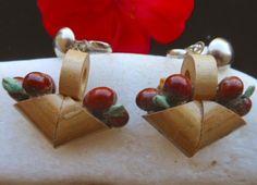 Wood Fruit Basket Screw On earrings