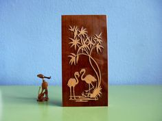 ☘+Vintage+Teak+Holz+Flamingo+50er+Relief+Bild+von+ILoveSparrows+auf+DaWanda.com