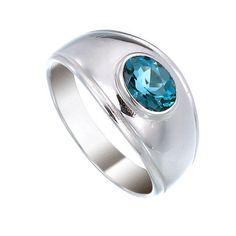London Blue Topaz Sterling Silver Ring by jewelkingthai on Etsy, $47.00