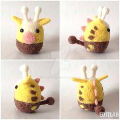 Handmade Needlefelt Girafarig (Pokemon) by fluffy288