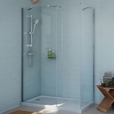 Cooke & Lewis Exuberance Rectangular Shower Enclosure, Tray & Waste Pack with Walk-In Entry (W)1300mm (D)800mm   Departments   DIY at B&Q