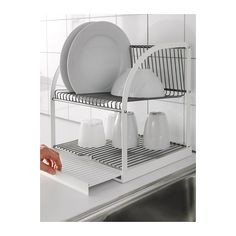 BESTÅENDE Dish drainer IKEA The dish drainer can be made larger by pulling out the tray, so you can fit a lot of dishes in a small area.