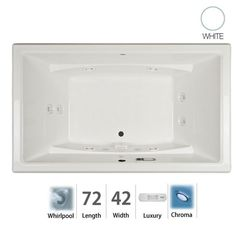 "Jacuzzi ACE7242WCR4CH Acero 72"" Whirlpool Bathtub for Drop In / Undermount Insta White Tub Whirlpool Drop-In"