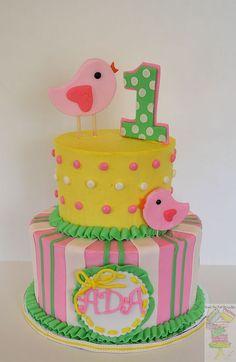 By Yari Gonzalez Spring Theme First Birthday Cake! - Buttercream frosted cake with fondant/gumpaste decorations. :)  www.facebook.com/cakesbyyari