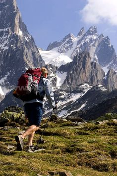 Stock Photo titled: A Man Hiking In The French Alps Near Chamonix France., unlicensed use prohibited