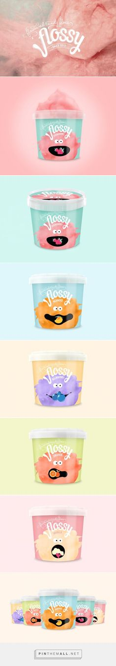 FLOSSY - Flavoured Candy Floss   super bright food packaging: