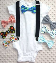 Baby Bow Tie Bodysuit with Suspenders  https://www.etsy.com/ca/shop/CreativeEssentialz