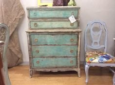 Gallery - Farmhouse Paint~ love the water-colour effect of the paint on this dresser.