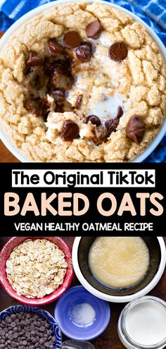 How to make the famous healthy tiktok baked oats taking over instagram and social media. The recipe is great for breakfast and can be vegan #bakedoats #tiktok #bakedoatmeal #oats #vegan #recipe #breakfast #tiktokrecipes #oatmeal #chocolatechip