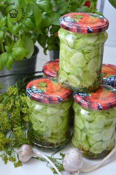 Ogórki po królewsku z miodem - KulinarnePrzeboje.pl Preserves, Pickles, Cucumber, Mason Jars, Cabbage, Canning, Vegetables, Drinks, Sweet