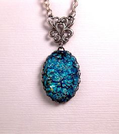 Deep Blue Sea Turquoise Opal Pendant by FashionCrashJewelry