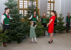 14 December 2016 - Crown Princess Victoria and Princess Estelle accept Christmas Trees from forestry programme students from the SLU - Swedish University - dress (recycled) by Prada