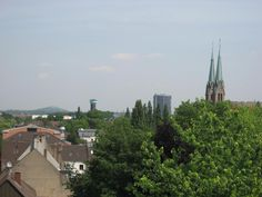 Blick vom Rathaus auf Marien-Kirche, Gasometer u. Wasserturm