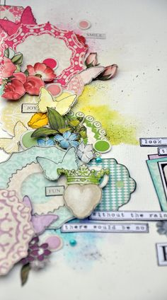 Rainbow-detail, watercoloring behind fussy cut paper details for layouts or cards.   from #Webster's Pages.  Thank you for pinning my layout! :)