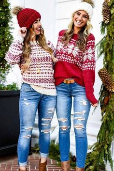 Christmas Sweaters You'll Totally Want To Wear This Year ★The Effective Pictures We Offer You About cute Women Sweater A quality picture can tell you many things. You can find the most beautiful pictures that can be presented to you about Women Swea Cute Christmas Outfits, Ugly Christmas Sweater, Christmas Outfit Women Casual, Christmas Fashion Outfits, Holiday Outfits Women, Christmas Clothes For Girls, Womens Christmas Sweaters, Christmas Christmas, Christmas Ideas