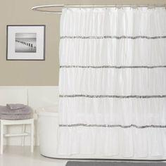 Amazon.com - Lush Decor Twinkle Shower Curtain, White - Black And White Shower Curtain $28.60 - will match the sink accessories!!!