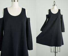 90s Vintage Black Mini Cut Out Shoulder Tent Dress / by decades, $52.00