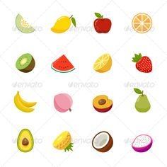Fruit Icon Flat Design — Transparent PNG #apricot #lemon • Available here → https://graphicriver.net/item/fruit-icon-flat-design/7540003?ref=pxcr