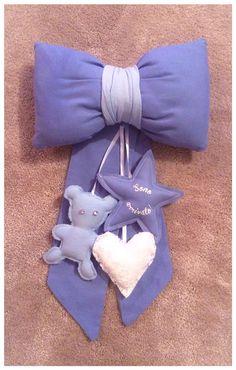 Fiocco nascita blu con differenti particolari