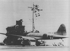 "Dive Bomber Aichi D3A1 «Val"" takes off from the deck of an aircraft carrier Japanese ""Zuikaku"""