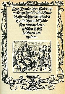 German Peasants' War - The title page of the 12 Articles. On browned paper, an illustration shows men seated in a circle talking.
