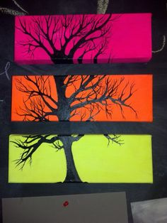 Multiple canvas tree painting by cit-cat-kate