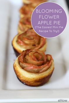Beautiful and easy-to-make flower shaped apple pies! These mini pies are perfect bite sized treats for all your guests after that large holiday dinner! http://www.ehow.com/how_12343659_blooming-flower-apple-pie-easiest-mini-pie-recipe-try.html?utm_source=pinterest.com&utm_medium=referral&utm_content=freestyle&utm_campaign=fanpage
