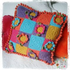 Crochet Cushion Pattern ~ Crazy Daisy ~ Instant Download